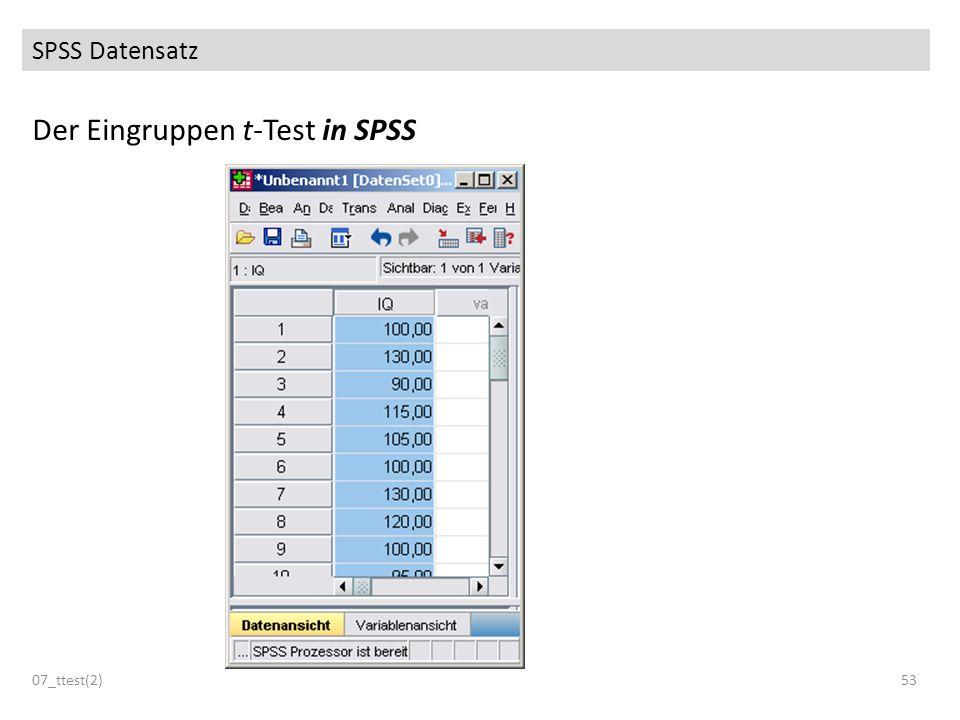 Der Eingruppen t-Test in SPSS