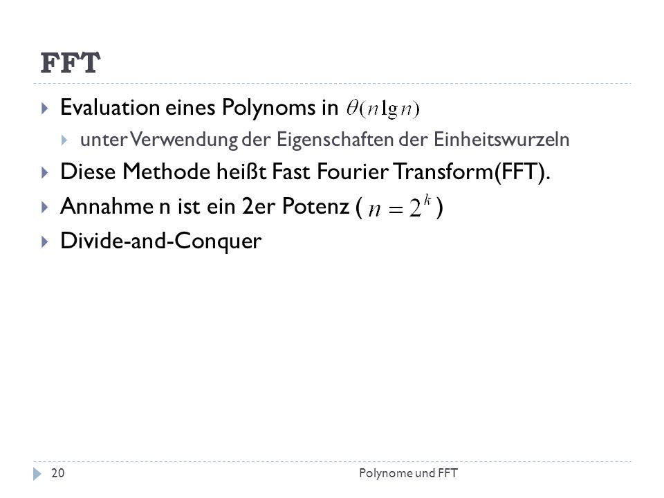 FFT Evaluation eines Polynoms in
