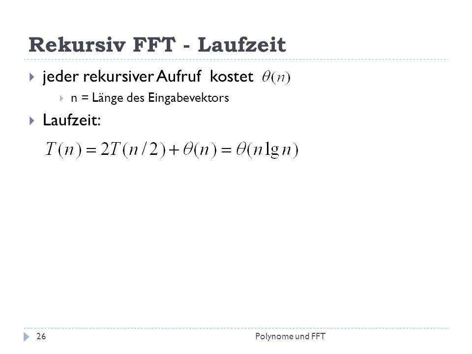 Rekursiv FFT - Laufzeit