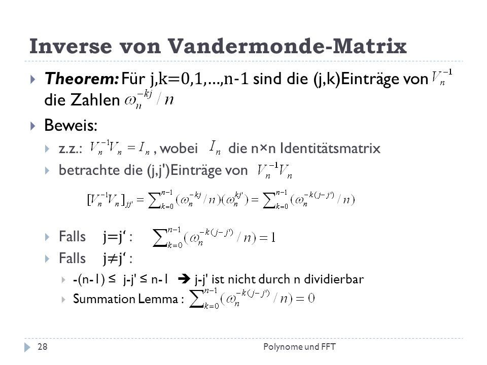 Inverse von Vandermonde-Matrix