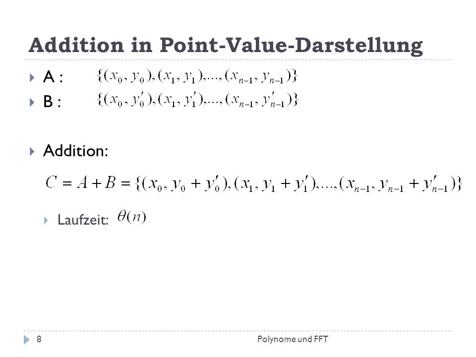 Addition in Point-Value-Darstellung