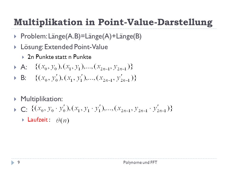 Multiplikation in Point-Value-Darstellung