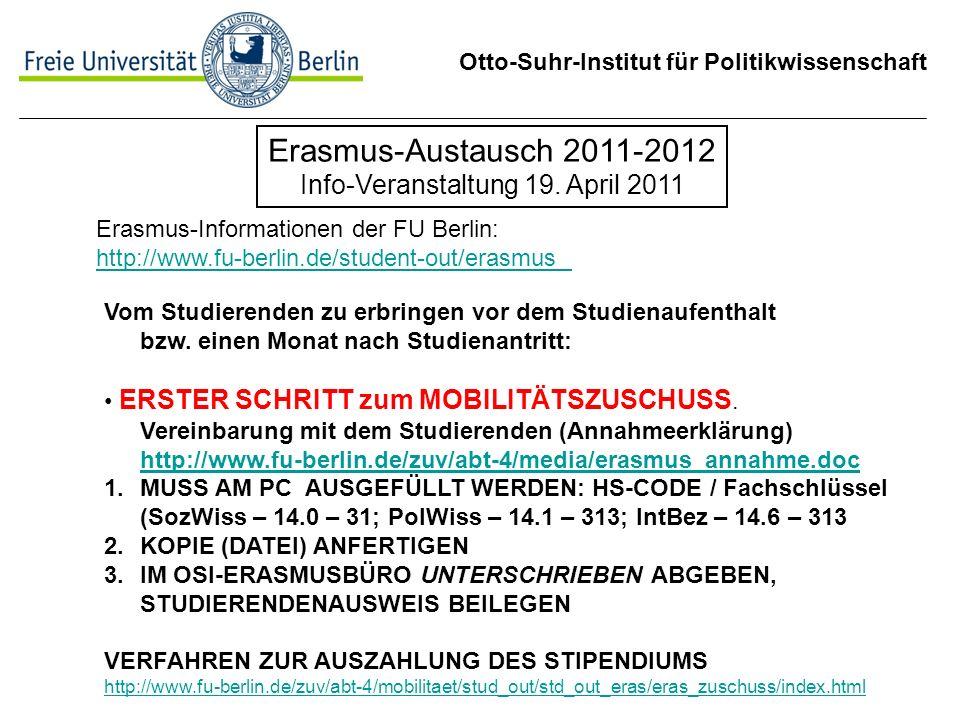 Erasmus-Austausch 2011-2012 Info-Veranstaltung 19. April 2011