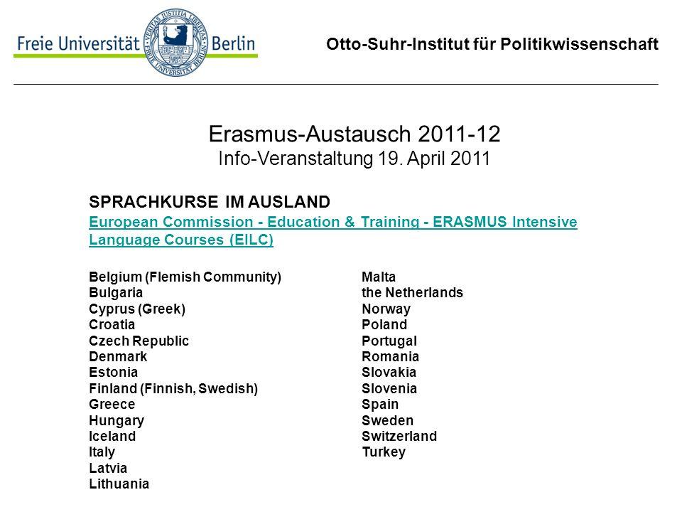 Erasmus-Austausch 2011-12 Info-Veranstaltung 19. April 2011