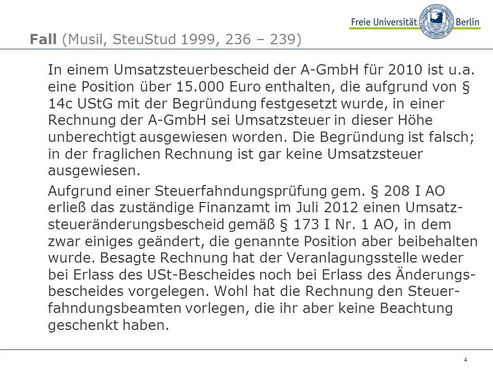 Fall (Musil, SteuStud 1999, 236 – 239)