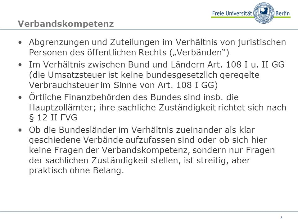 """Verbandskompetenz Abgrenzungen und Zuteilungen im Verhältnis von juristischen Personen des öffentlichen Rechts (""""Verbänden )"""