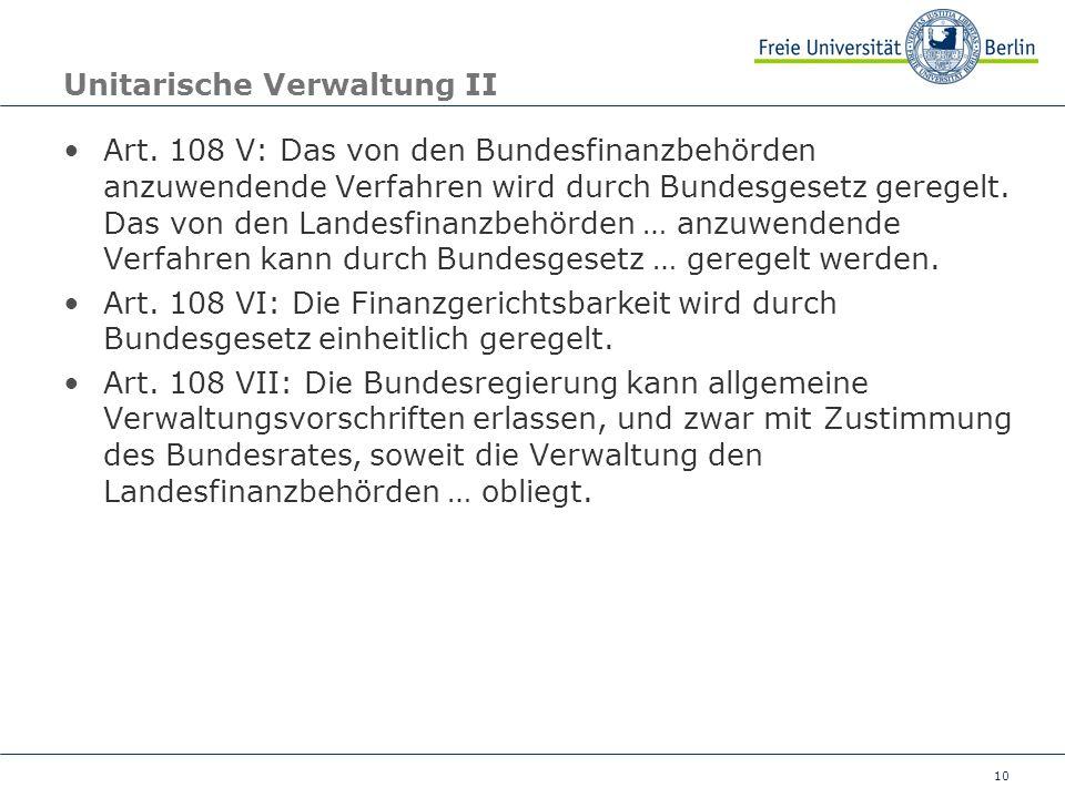 Unitarische Verwaltung II