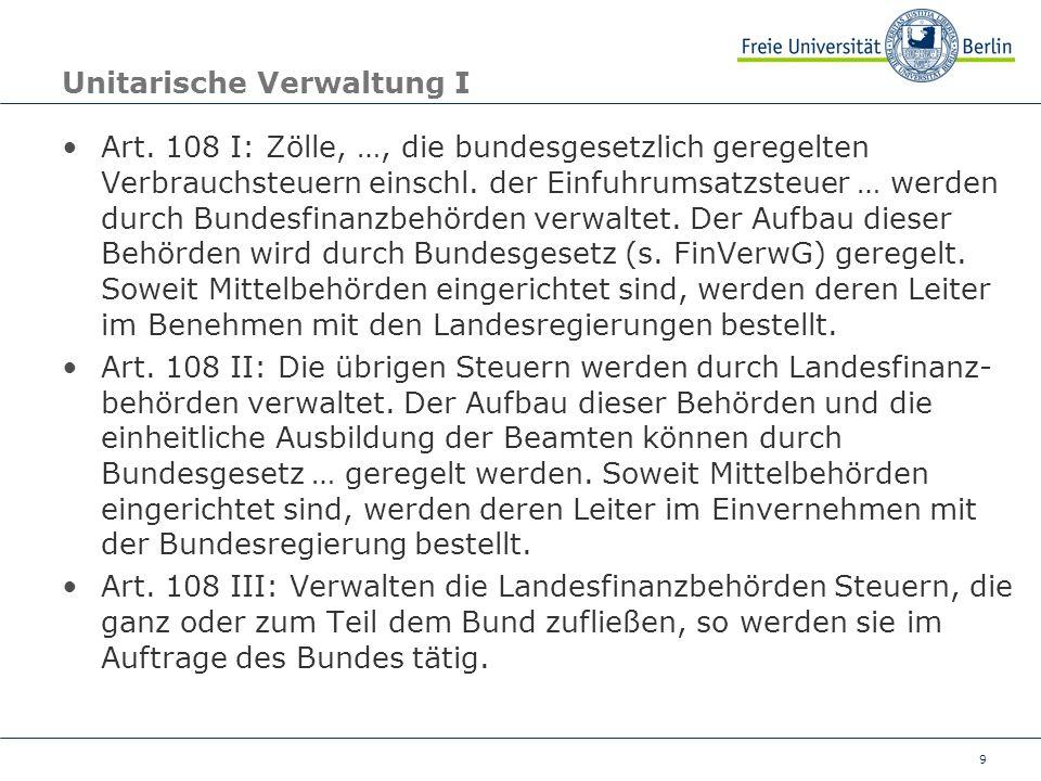 Unitarische Verwaltung I