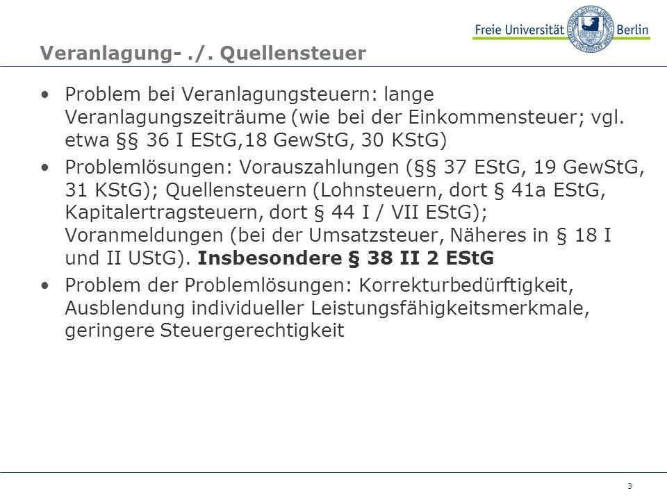 Veranlagung- ./. Quellensteuer