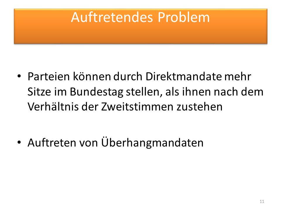 Auftretendes Problem Parteien können durch Direktmandate mehr Sitze im Bundestag stellen, als ihnen nach dem Verhältnis der Zweitstimmen zustehen.