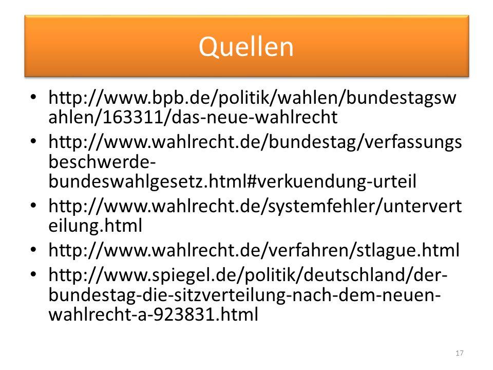Quellen http://www.bpb.de/politik/wahlen/bundestagswahlen/163311/das-neue-wahlrecht.