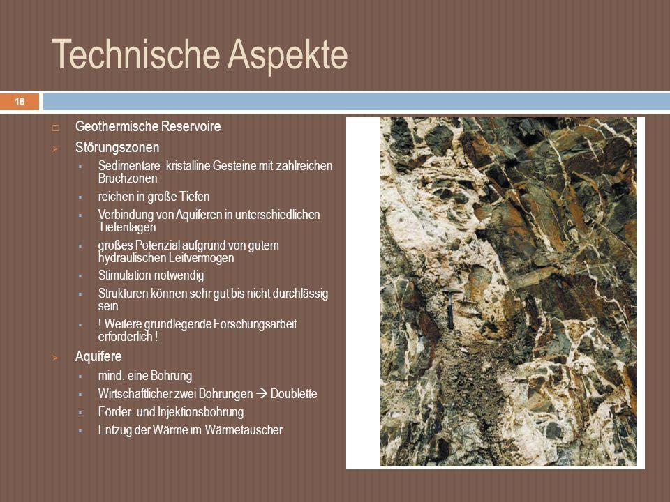 Technische Aspekte Geothermische Reservoire Störungszonen Aquifere
