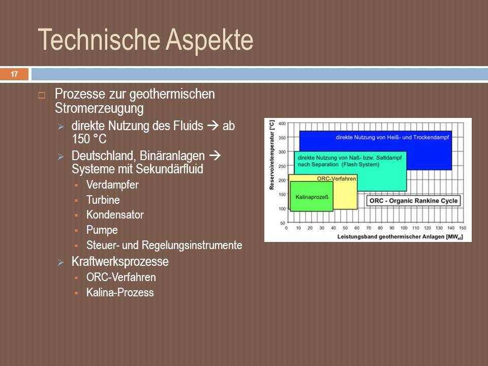 Technische Aspekte Prozesse zur geothermischen Stromerzeugung