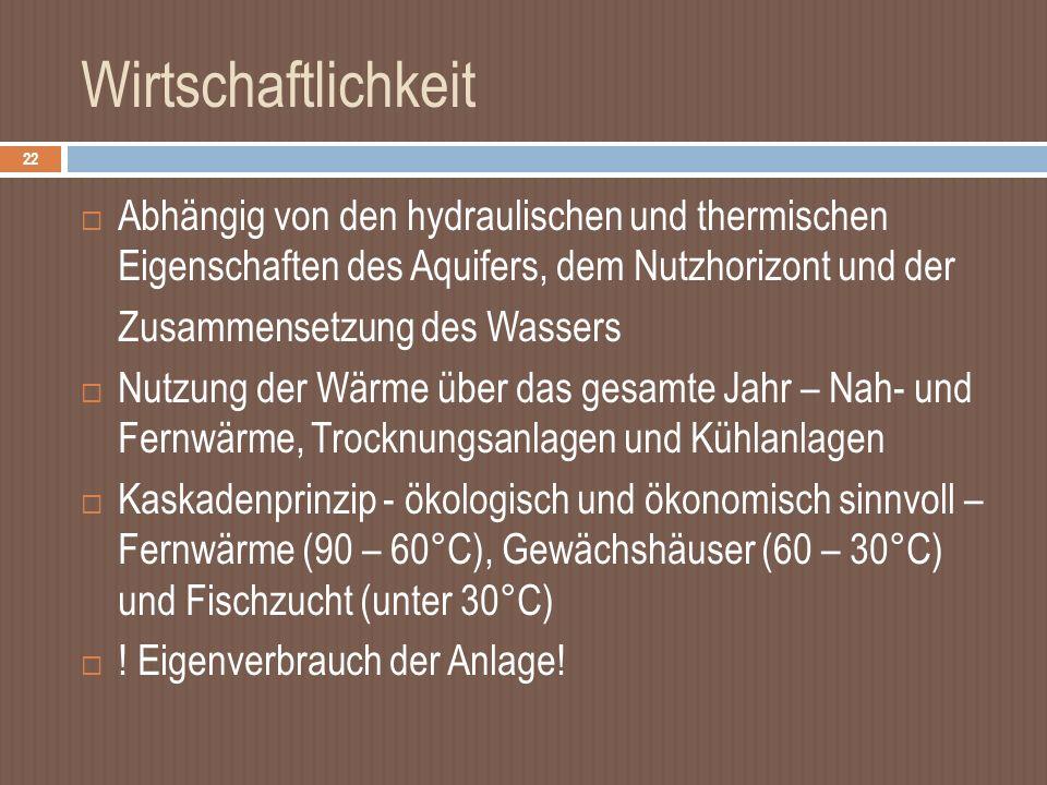 Wirtschaftlichkeit Abhängig von den hydraulischen und thermischen Eigenschaften des Aquifers, dem Nutzhorizont und der.