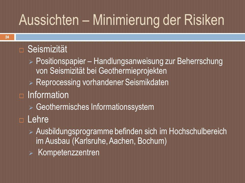 Aussichten – Minimierung der Risiken