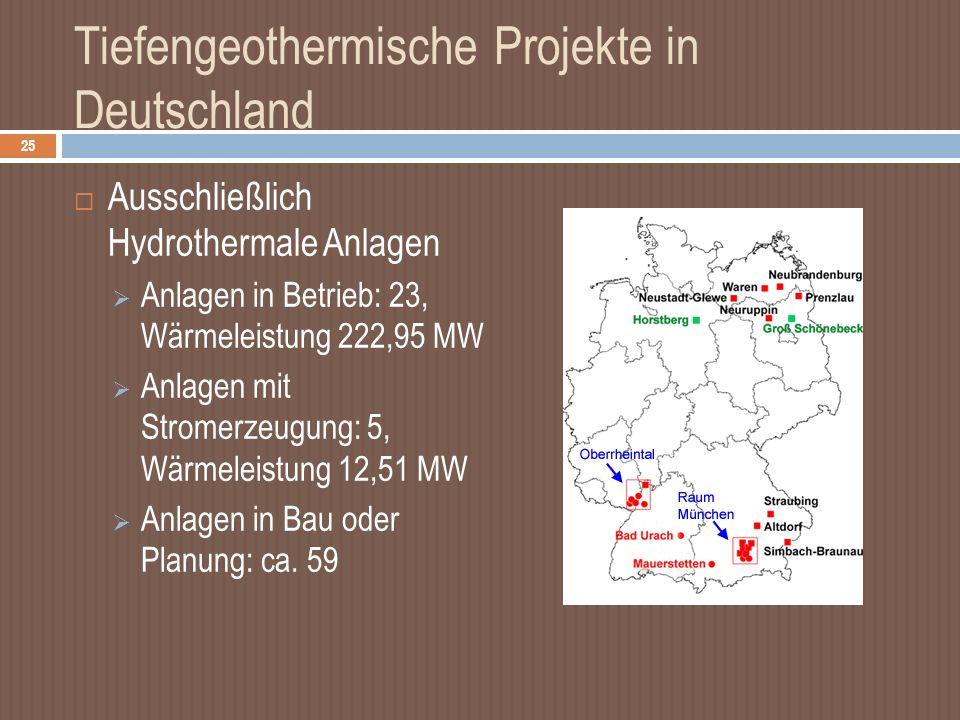 Tiefengeothermische Projekte in Deutschland