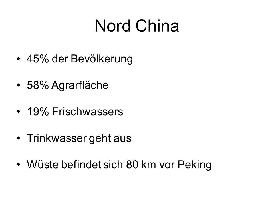 Nord China 45% der Bevölkerung 58% Agrarfläche 19% Frischwassers