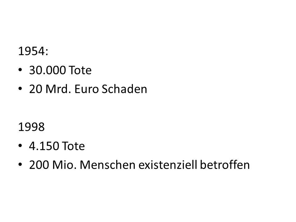 1954: 30.000 Tote 20 Mrd. Euro Schaden 1998 4.150 Tote 200 Mio. Menschen existenziell betroffen