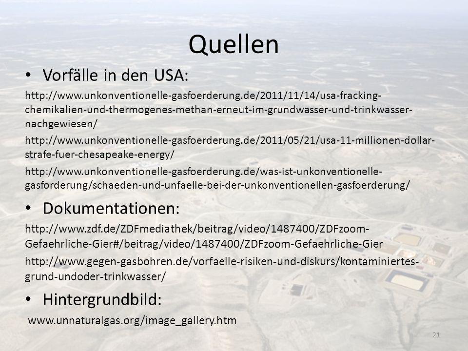 Quellen Vorfälle in den USA: Dokumentationen: Hintergrundbild: