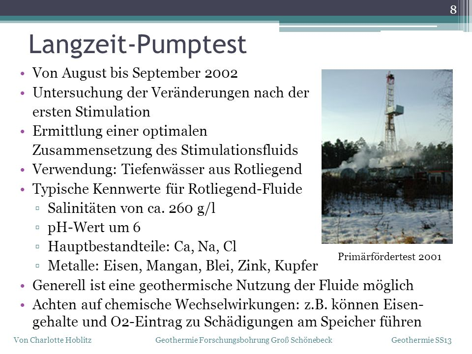 Langzeit-Pumptest Von August bis September 2002
