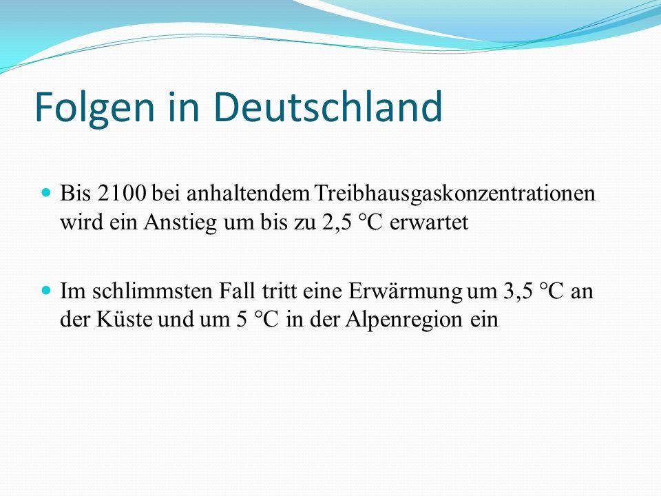 Folgen in Deutschland Bis 2100 bei anhaltendem Treibhausgaskonzentrationen wird ein Anstieg um bis zu 2,5 °C erwartet.