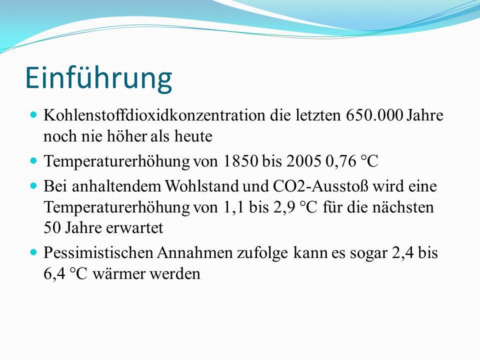 Einführung Kohlenstoffdioxidkonzentration die letzten 650.000 Jahre noch nie höher als heute. Temperaturerhöhung von 1850 bis 2005 0,76 °C.