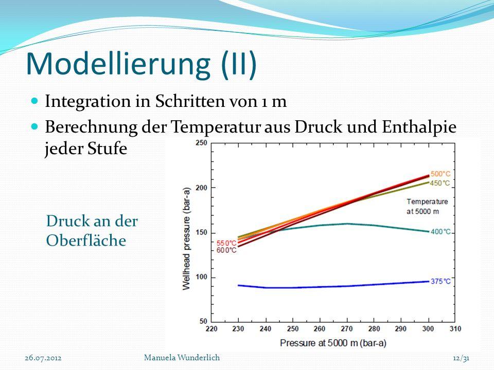 Modellierung (II) Integration in Schritten von 1 m