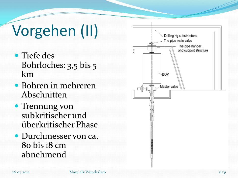 Vorgehen (II) Tiefe des Bohrloches: 3,5 bis 5 km