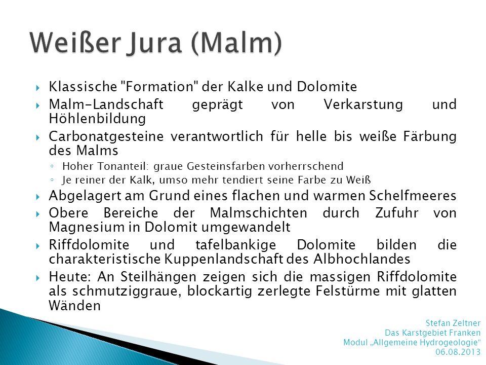Weißer Jura (Malm) Klassische Formation der Kalke und Dolomite