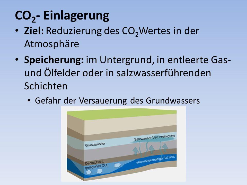 CO2- Einlagerung Ziel: Reduzierung des CO2Wertes in der Atmosphäre