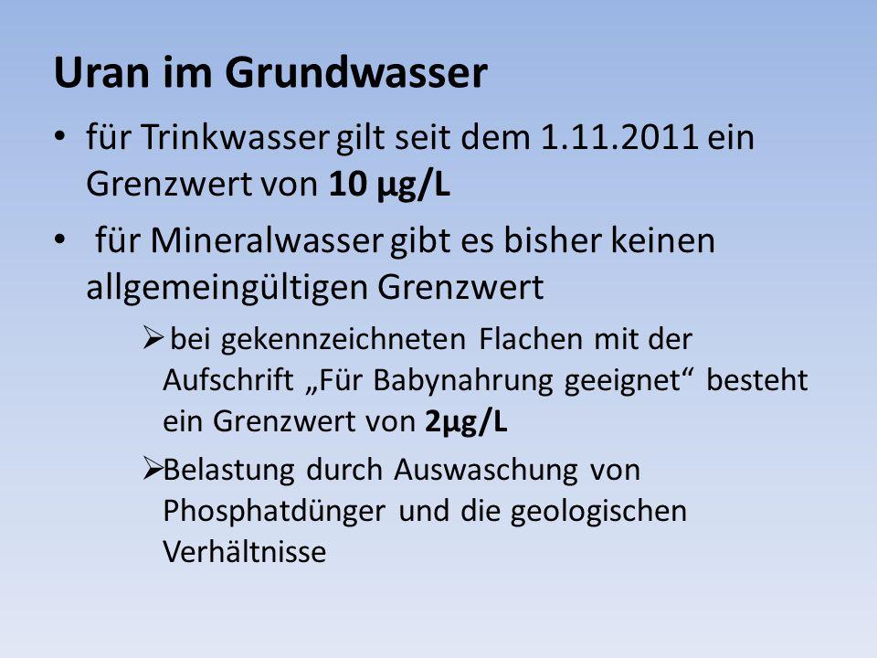 Uran im Grundwasser für Trinkwasser gilt seit dem 1.11.2011 ein Grenzwert von 10 µg/L.