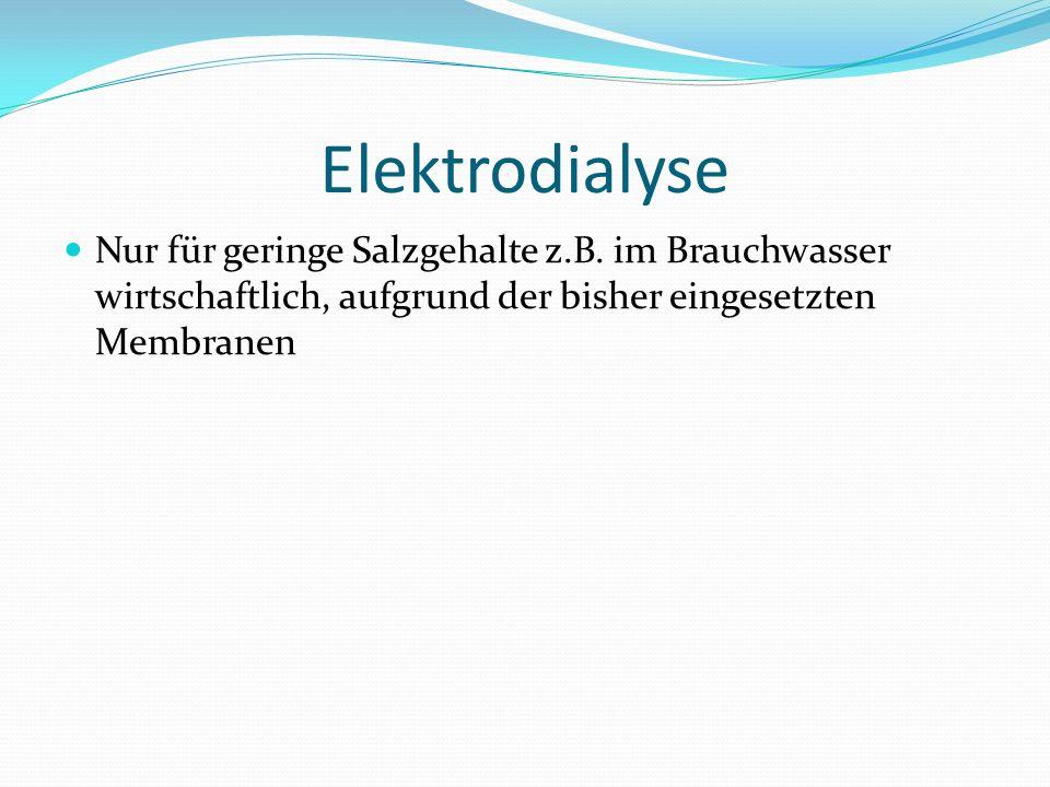 Elektrodialyse Nur für geringe Salzgehalte z.B.