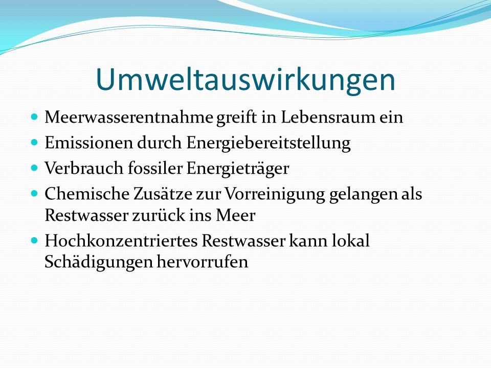 Umweltauswirkungen Meerwasserentnahme greift in Lebensraum ein