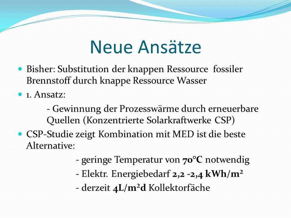 Neue Ansätze Bisher: Substitution der knappen Ressource fossiler Brennstoff durch knappe Ressource Wasser.