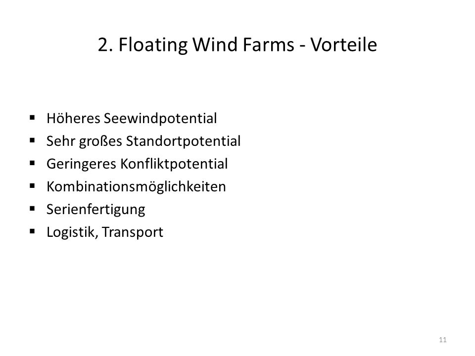 2. Floating Wind Farms - Vorteile