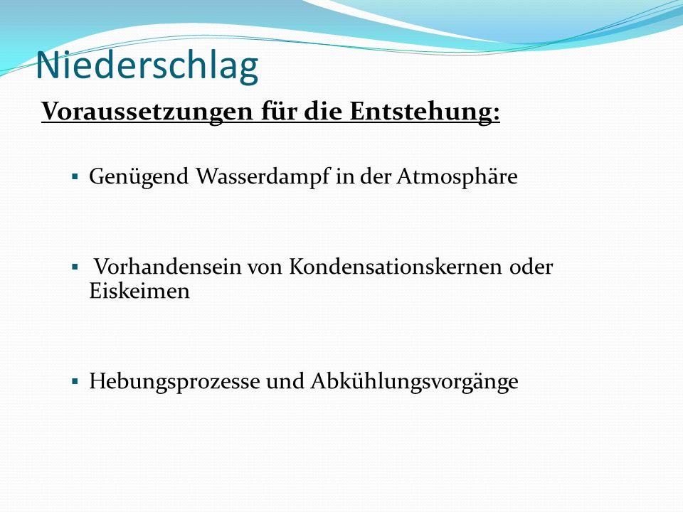 Niederschlag Voraussetzungen für die Entstehung: