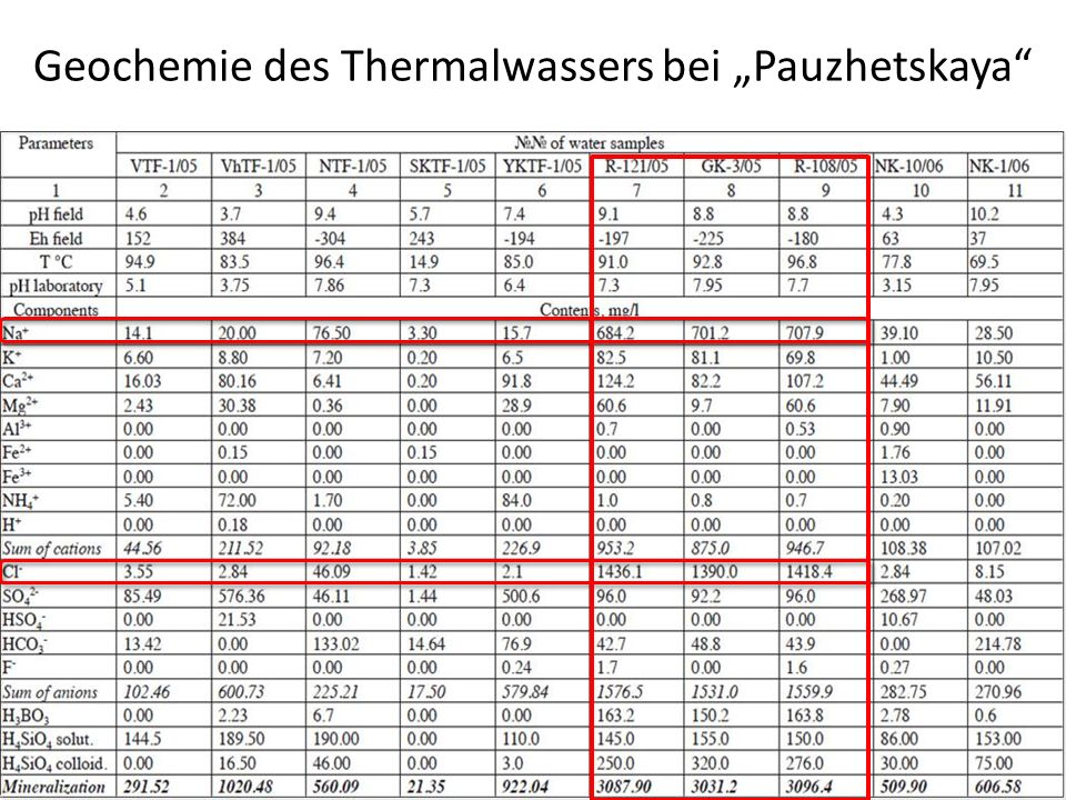 "Geochemie des Thermalwassers bei ""Pauzhetskaya"