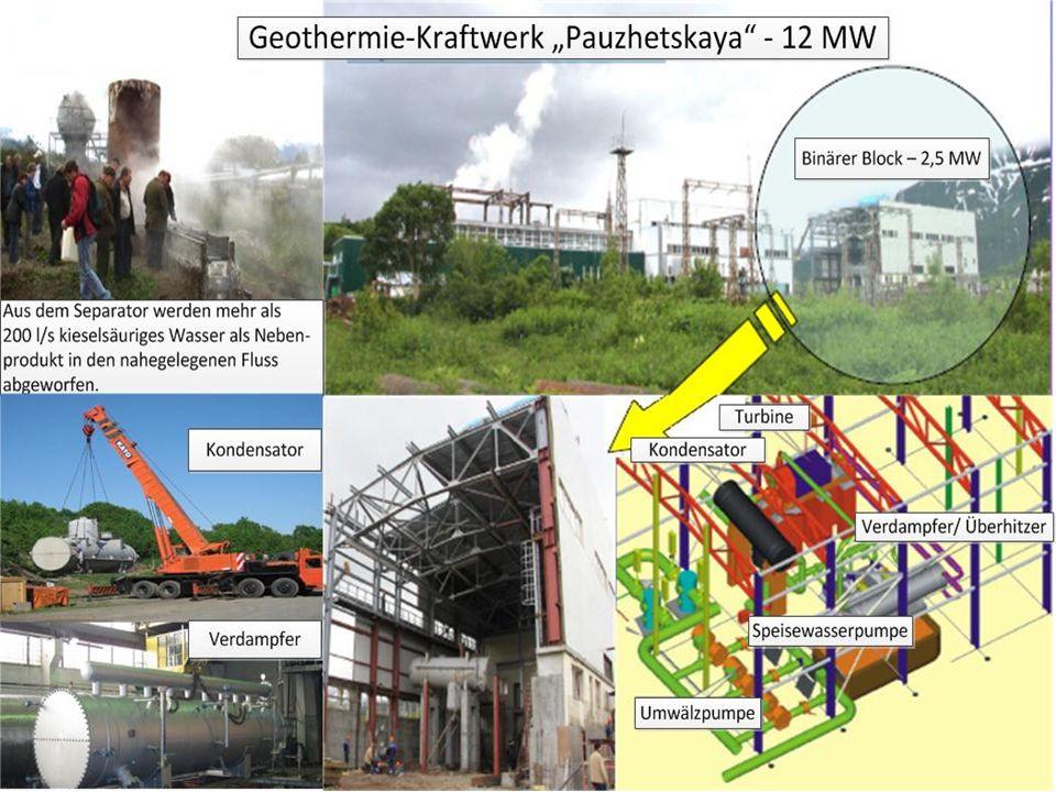 """Das Geothermie Kraftwerk """"Pauzhetskaja ist das älteste geothermische Kraftwerk in Russland und wurde 1966 zu experimentellen Zwecken in Auftrag gegeben."""