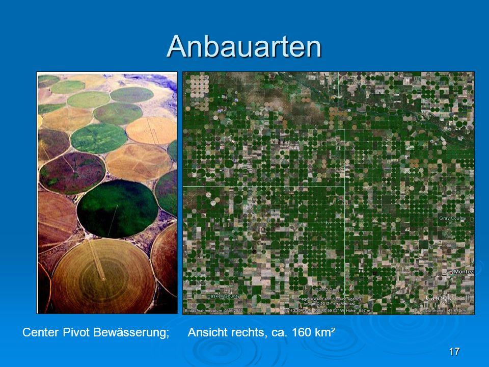 Anbauarten Center Pivot Bewässerung; Ansicht rechts, ca. 160 km²