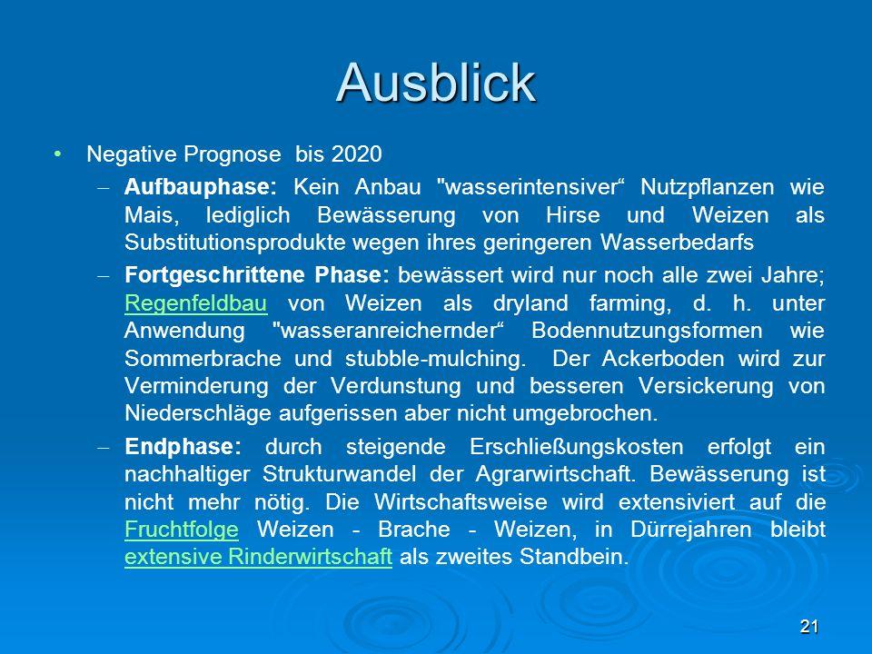Ausblick Negative Prognose bis 2020