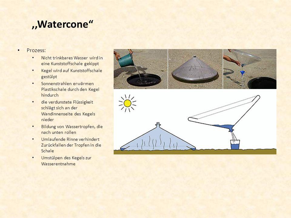 ,,Watercone Prozess: Nicht trinkbares Wasser wird in eine Kunststoffschale gekippt. Kegel wird auf Kunststoffschale gestülpt.