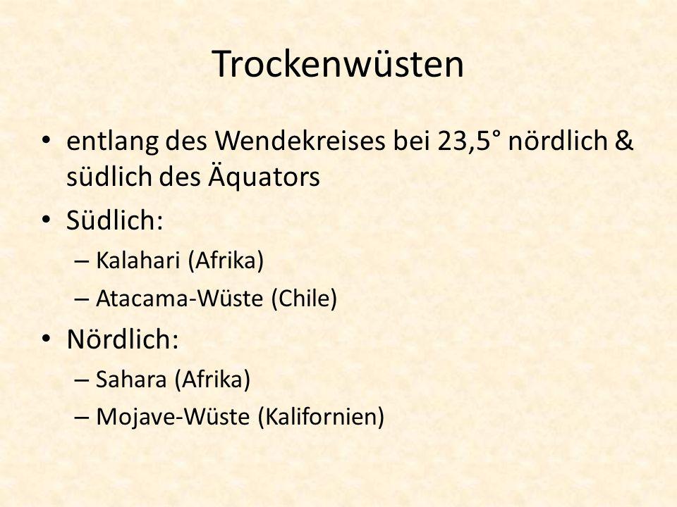 Trockenwüsten entlang des Wendekreises bei 23,5° nördlich & südlich des Äquators. Südlich: Kalahari (Afrika)