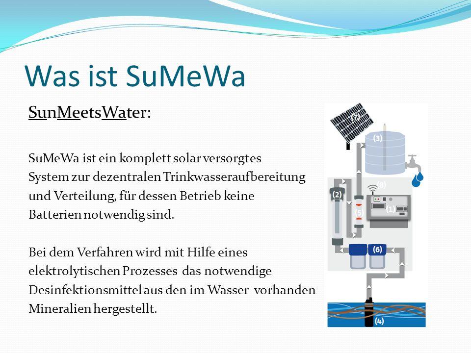 Was ist SuMeWa SunMeetsWater: SuMeWa ist ein komplett solar versorgtes