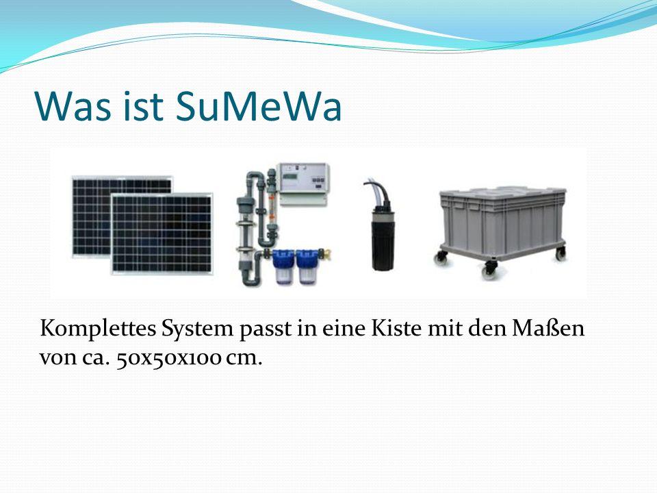 Was ist SuMeWa Komplettes System passt in eine Kiste mit den Maßen von ca. 50x50x100 cm.
