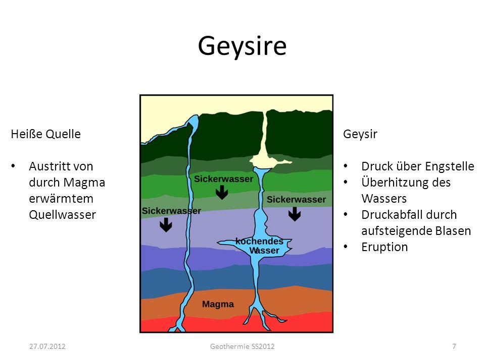"""Geysire Der """"Große Geysir auf Island 27.07.2012 Geothermie SS2012"""
