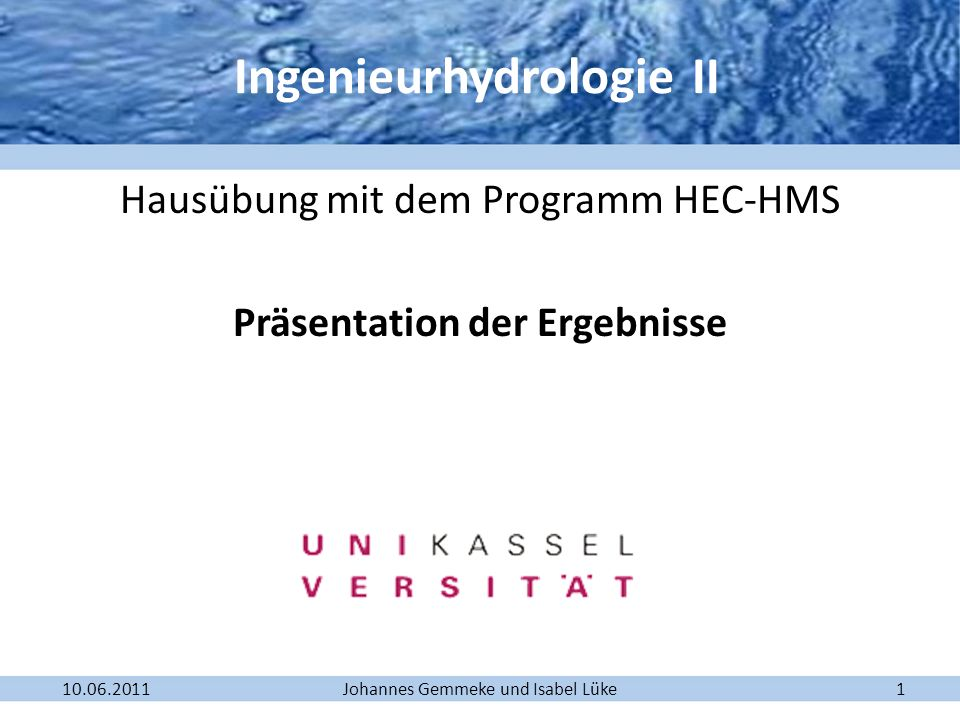 Ingenieurhydrologie II