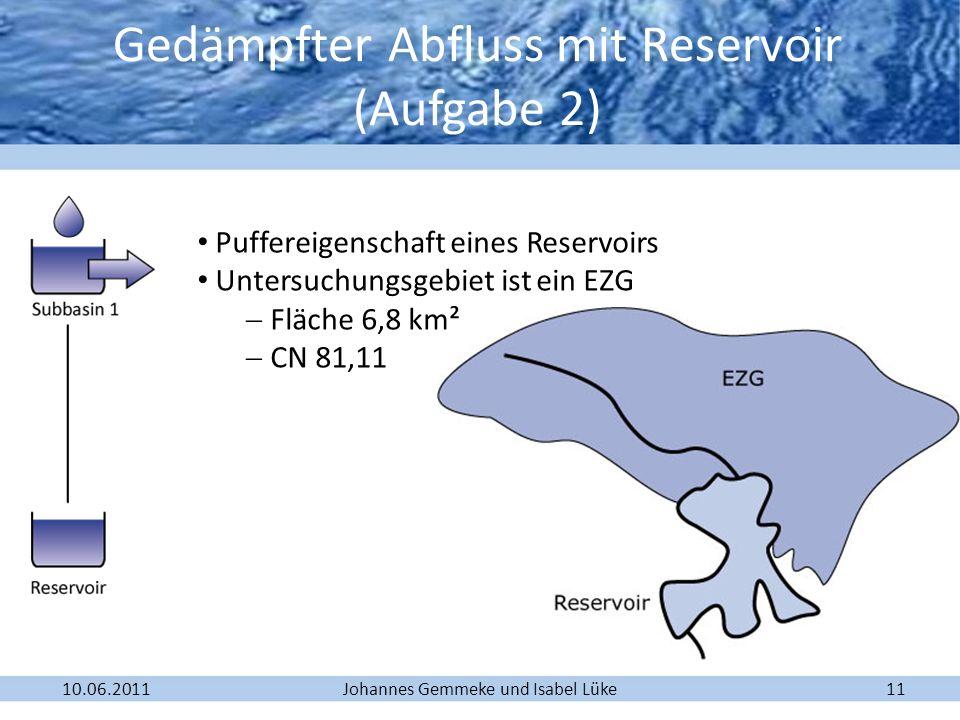 Gedämpfter Abfluss mit Reservoir (Aufgabe 2)