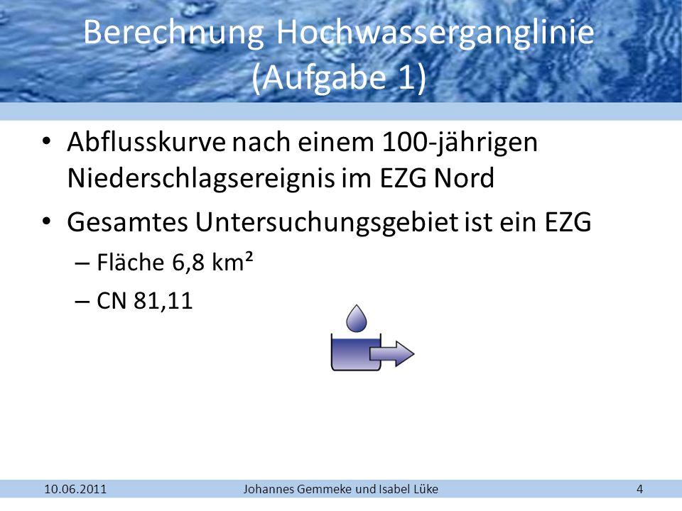 Berechnung Hochwasserganglinie (Aufgabe 1)