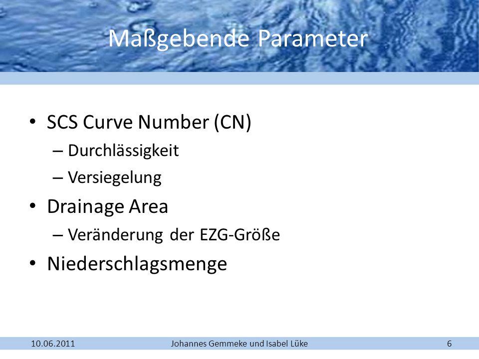 Maßgebende Parameter SCS Curve Number (CN) Drainage Area