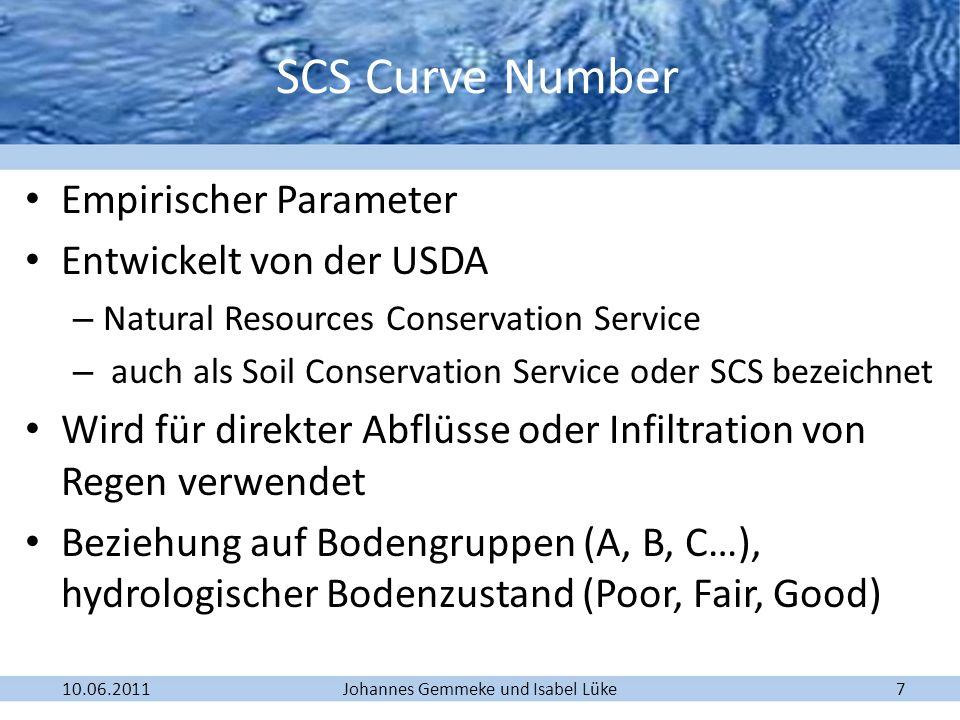 SCS Curve Number Empirischer Parameter Entwickelt von der USDA